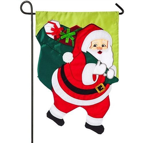 """Santa Claus 168715BL Evergreen Applique Garden Flag 12.5"""" x 18"""""""