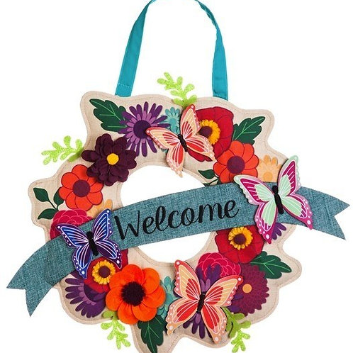 Butterfly Garden Wreath Burlap Door Décor 2DHB1245 Evergreen Door Hanger