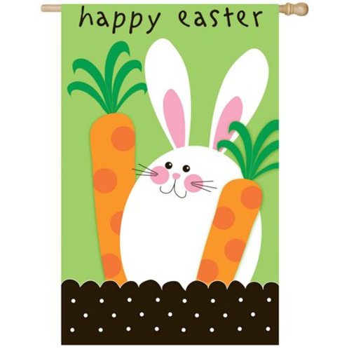 "Happy Easter 158149 Evergreen Applique HOUSE Flag 28"" x 44"""