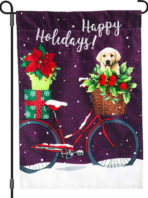 """Happy Holiday Bicycle 14L4520 Evergreen Linen Garden Flag 12.5"""" x 18"""""""