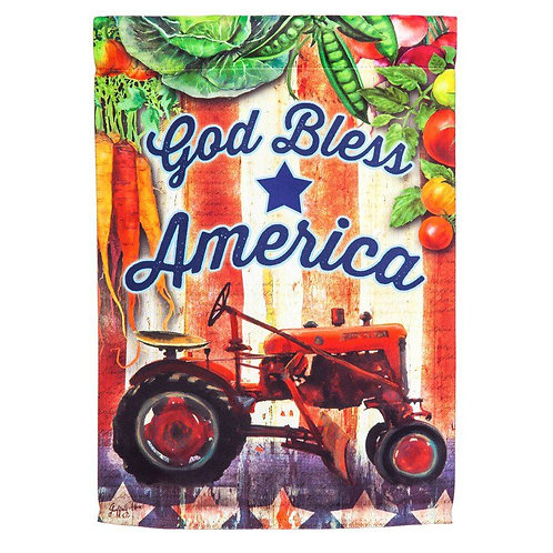 "**OPEN FLAG NO PACKAGING** Tractor God Bless America Suede HOUSE Flag 28"" x 44"""