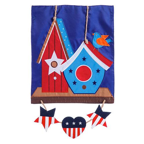 "Rustic Patriotic Birdhouse 168668 Evergreen Applique Garden Flag 12.5"" x 18"""