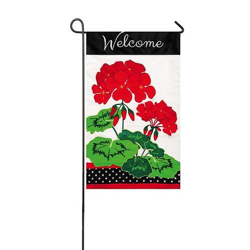 "Welcome Geranium ZTHD168403 Evergreen Applique Garden Flag 12.5"" x 18"""