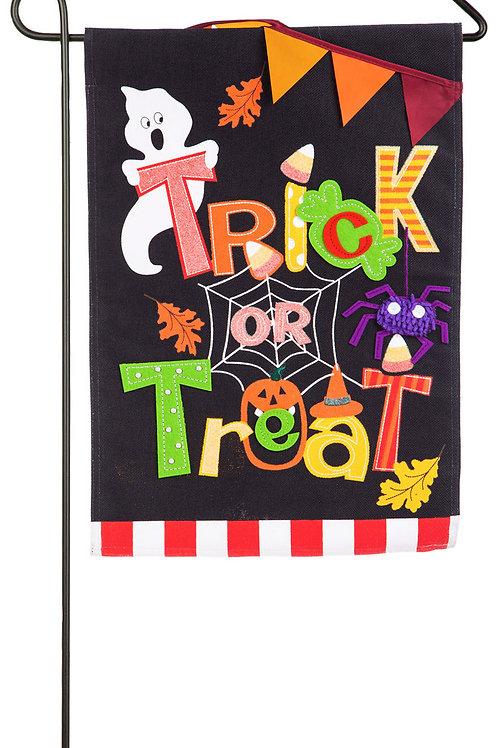 "Trick or Treat 14B4559BL Evergreen Burlap Garden Flag 12.5"" x 18"""