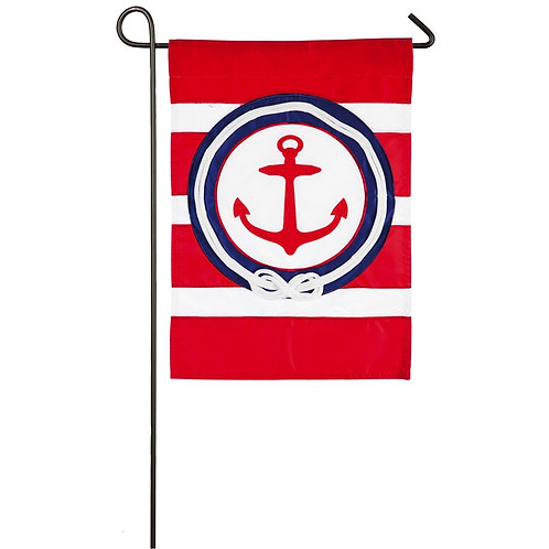 """Anchor Stripe 168947BL Evergreen Applique Garden Flag 12.5"""" x 18"""""""