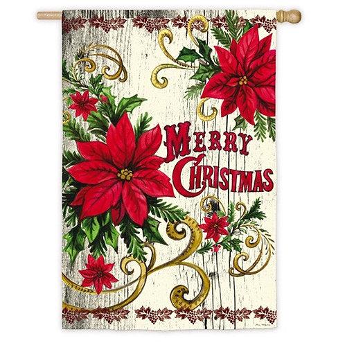 "**OPEN FLAG** Poinsettia Merry Christmas 13S3952 Suede HOUSE Flag 28"" x 44"""