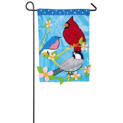 """Song Birds 168513BL Evergreen Applique Garden Flag 12.5"""" x 18"""""""