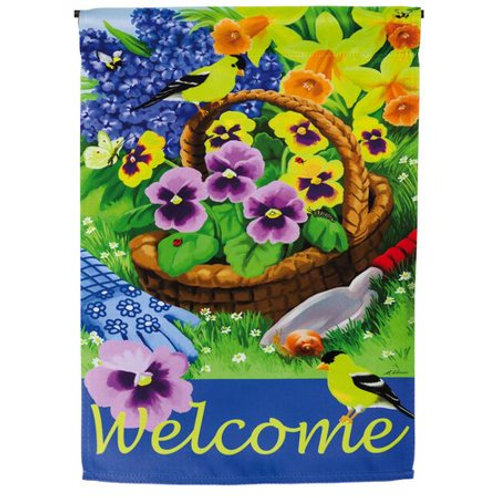 "Pansies for Planting 13S3708 Evergreen Suede HOUSE Flag 28"" x 44"""