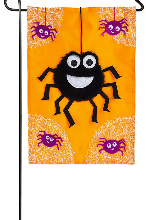 "Dancing Spiders 168691BL Evergreen Applique Garden Flag 12.5"" x 18"""