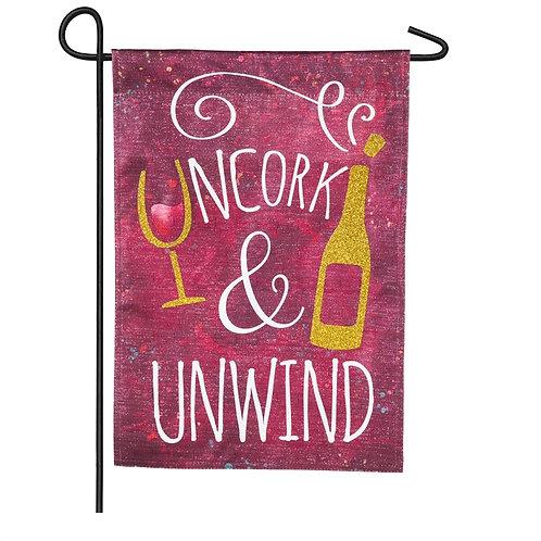 "Uncork and Unwind 14L8475BL Evergreen Linen Flag Garden Flag 12.5"" x 18"""