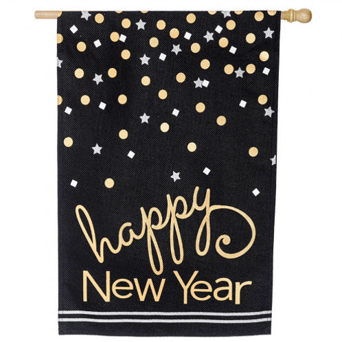 "Happy New Year 13B4006BL Evergreen Burlap HOUSE Flag 28"" x 44"""