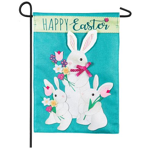"Bunny Trio 14B8407BL Evergreen Burlap Garden Flag 12.5"" x 18"""