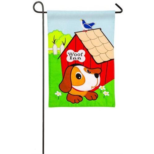 "**OPEN FLAG** Woof Inn 158659 Evergreen Applique HOUSE Flag 28"" x 44"""