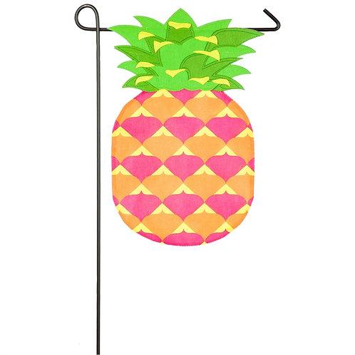 "Pineapple Shaped 16L8800 Evergreen Burlap Garden Flag 12.5"" x 18"""
