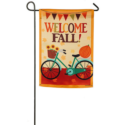 "Fall Welcome Bicycle 14S8216 Evergreen Suede Garden Flag 12.5"" x 18"""