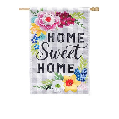 "Home Sweet Home Plaid Floral 13L9471 Evergreen Linen Flag HOUSE Flag 28"" x 44"""