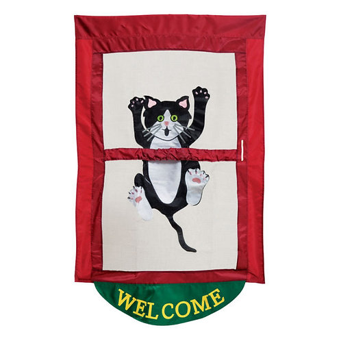 """**OPEN FLAG NO PACKAGING** Come Hang Out 03649 Applique HOUSE Flag 28"""" x 44"""""""