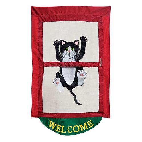 "**OPEN FLAG** Come Hang Out 03649 Evergreen Applique HOUSE Flag 28"" x 44"""