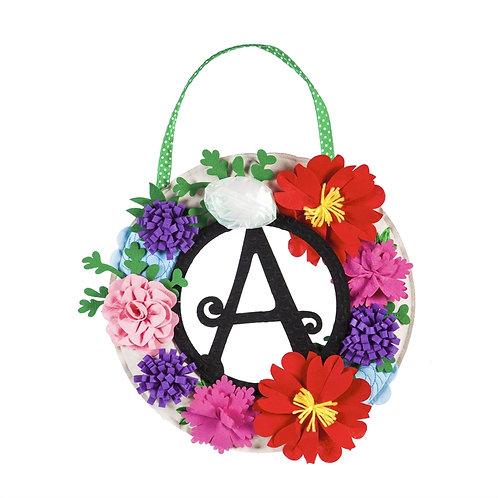 Floral Wreath Letter Perfect Door Decor 2DHF1434 Evergreen Door Hanger
