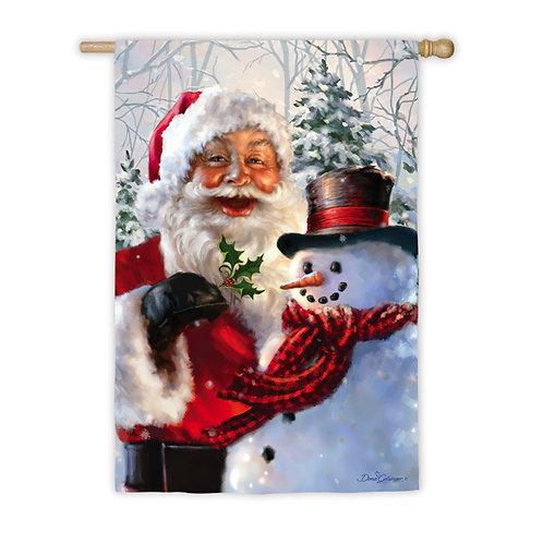 "Santa & Frosty ZHD14A3519 Evergreen Satin HOUSE Flag 28"" x 44"""