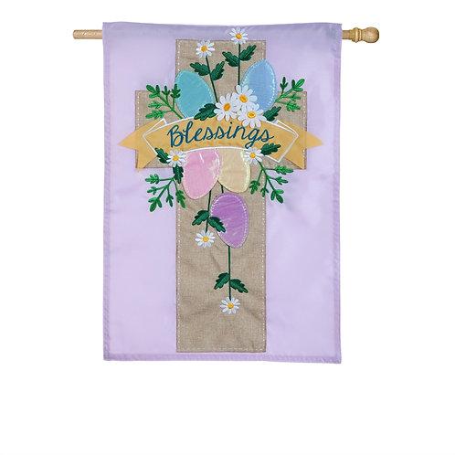 "Easter Cross 158728BL Evergreen Applique HOUSE Flag 28"" x 44"""