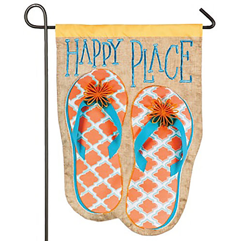 "Happy Place Flip Flops ZKL14S8501 Evergreen Suede Garden Flag 12.5"" x 18"""