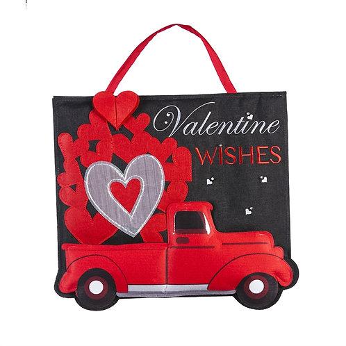 Truckload of Hearts Lit Door Decor 2DHB1426BL Evergreen Door Hanger
