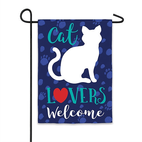 "Cat Lovers Welcome 14S8483 Evergreen Suede Garden Flag 12.5"" x 18"""