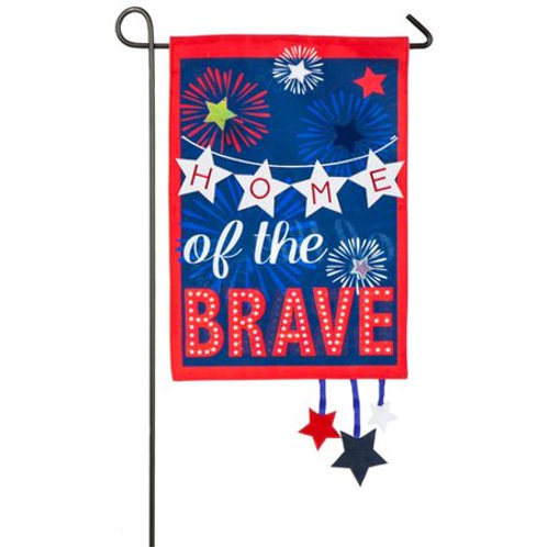 "Home of The Brave 14L4860 Evergreen Linen Garden Flag 12.5"" x 18"""