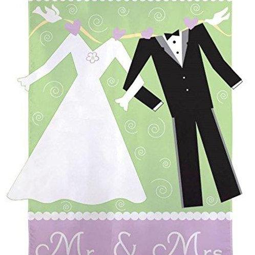 "Mr. & Mrs. 161265 Evergreen Applique Garden Flag 12.5"" x 18"""
