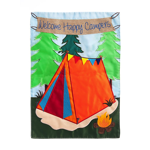 "Welcome Campers 168547 Evergreen  Applique Garden Flag 12.5"" x 18"""