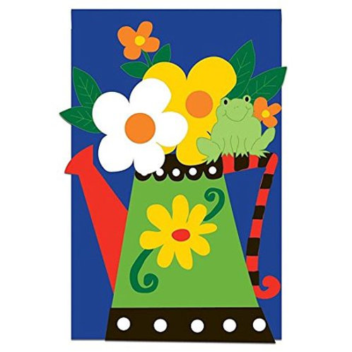 """Watering Can with Frog Evergreen Silk Garden Flag 12.5"""" x 18"""""""