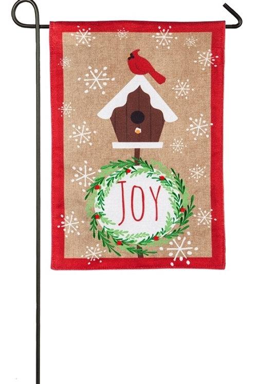 """Joyful Cardinal 14B8256 Evergreen Burlap Garden Flag 12.5"""" x 18"""""""