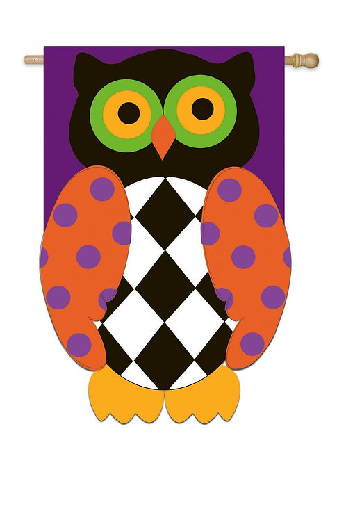 "**OPEN FLAG** Owl O Ween Night 158081BL Applique HOUSE Flag 28"" x 44"""