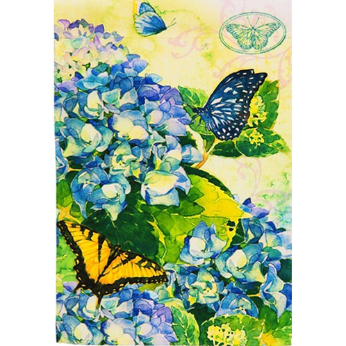 """**OPEN FLAG NO PACKAGING** Hydrangea Blooms 13A4149 Satin HOUSE Flag 28"""" x 44"""""""