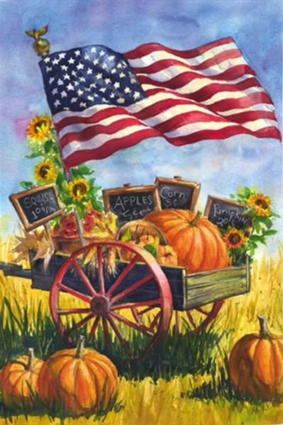 """**OPEN FLAG NO PACKAGING** Patriotic Farm Wagon Suede HOUSE Flag 28"""" x 44"""""""