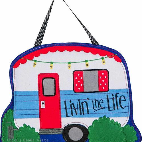 Living the Life Felt Door Decor 2DHF1058 Camping Door Hanger