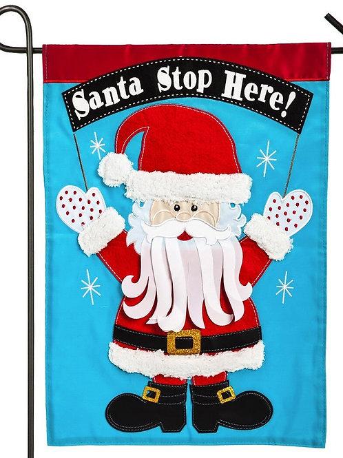 """Santa Stop Here 168572BL Evergreen Applique Garden Flag 12.5"""" x 18"""""""