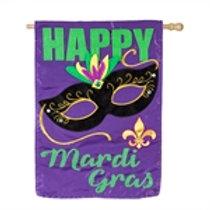 "**OPEN FLAG** Happy Mardi Gras 158908BL Evergreen Applique HOUSE Flag 28"" x 44"""