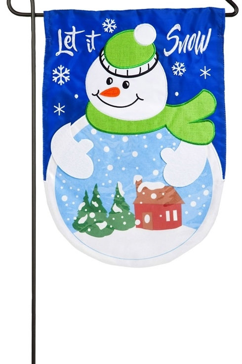 "Let it Snow Globe 168713BL Evergreen Applique Garden Flag 12.5"" x 18"""