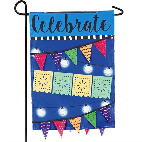 """Celebrate String Lights Solar LED LIGHT UP 14SL8503 Garden Flag 12.5"""" x 18"""""""