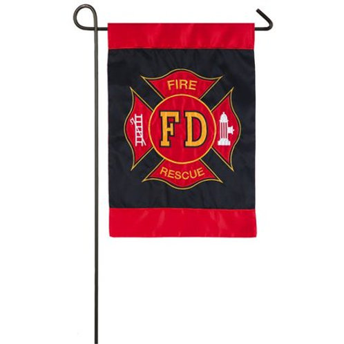 "Fire Department 168608 Evergreen Applique Garden Flag 12.5"" x 18"""