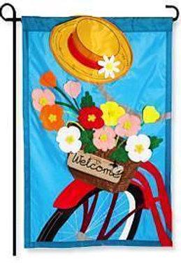 "Bicycle Basket 168605BL Evergreen Applique Garden Flag 12.5"" x 18"""
