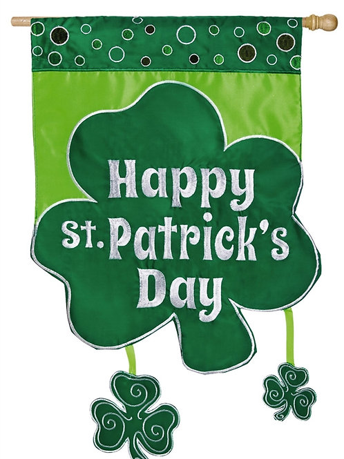 "Happy Shamrock Day 158492 Evergreen Applique HOUSE Flag 28"" x 44"""