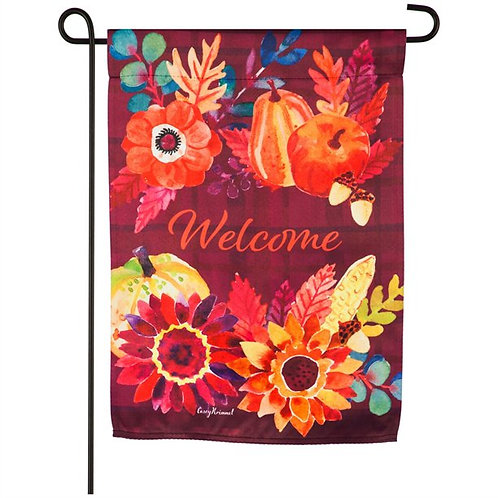 "Harvest Floral Welcome 14S9320 Evergreen Suede Garden Flag 12.5"" x 18"""
