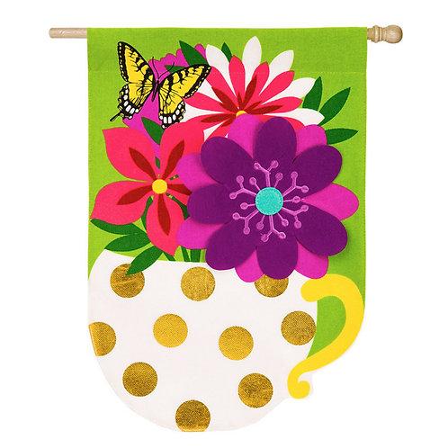 "Flower Mug 13B4051 Evergreen Burlap HOUSE Flag 28"" x 44"""