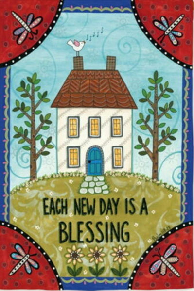 "Each New Day is a Blessing 13S3984FB Evergreen Suede HOUSE Flag 28"" x 44"""