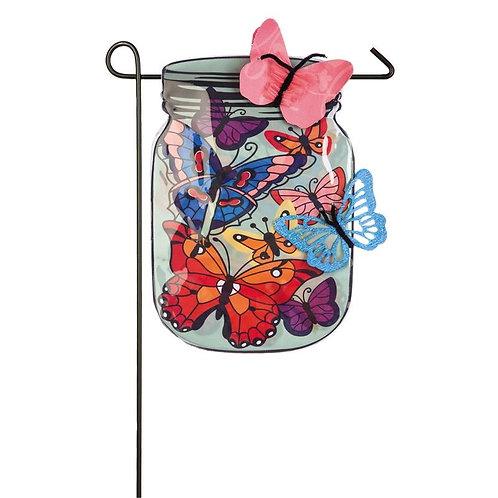 """Mason Jar Butterflies 14L4755BL Evergreen Linen Garden Flag 12.5"""" x 18"""""""