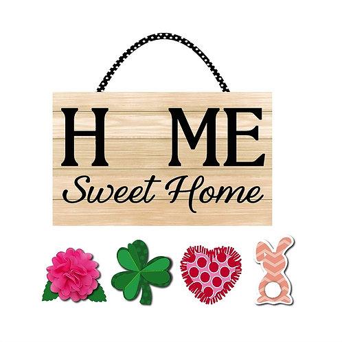 Spring Interchangable Home Sweet Home Door Decor 2DHB1725 Evergreen Door Hanger