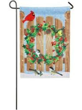 "Holly Wreath on Fence Door 14B4524 Burlap Garden Flag 12.5"" x 18"""